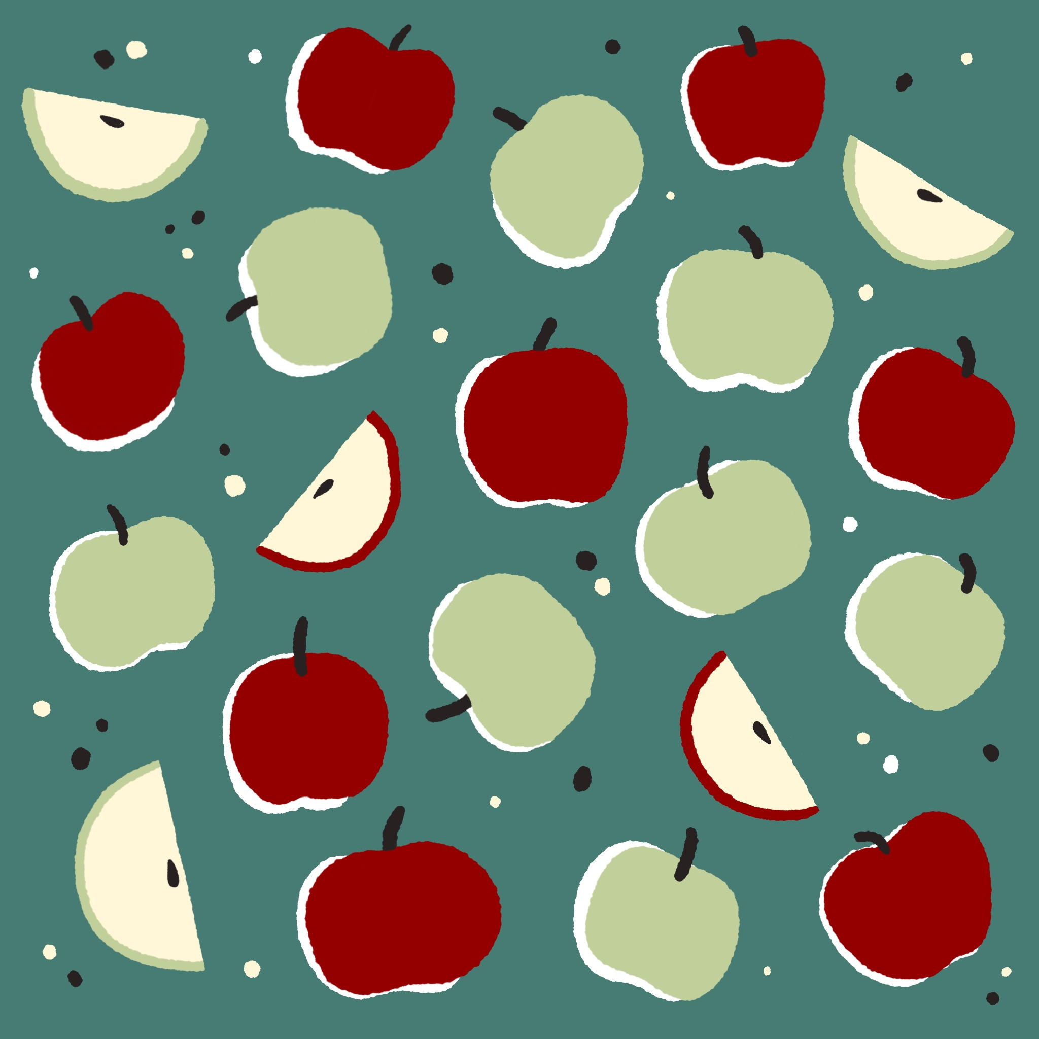 An illustrated pattern of apples