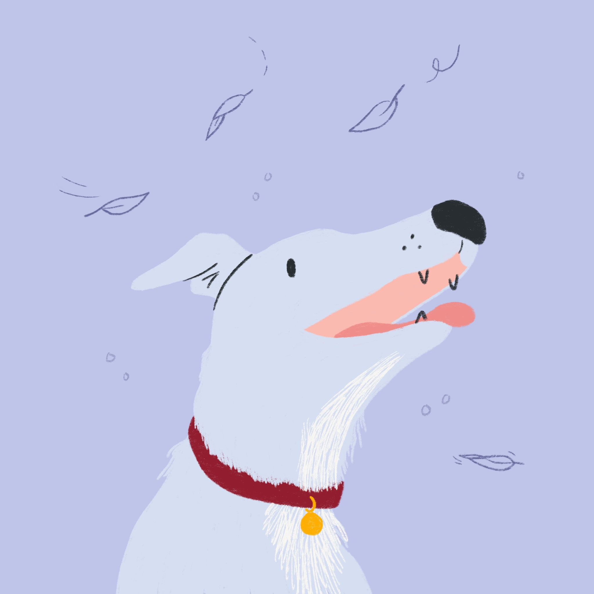 An illustration of a dog smiling and looking at falling leaves