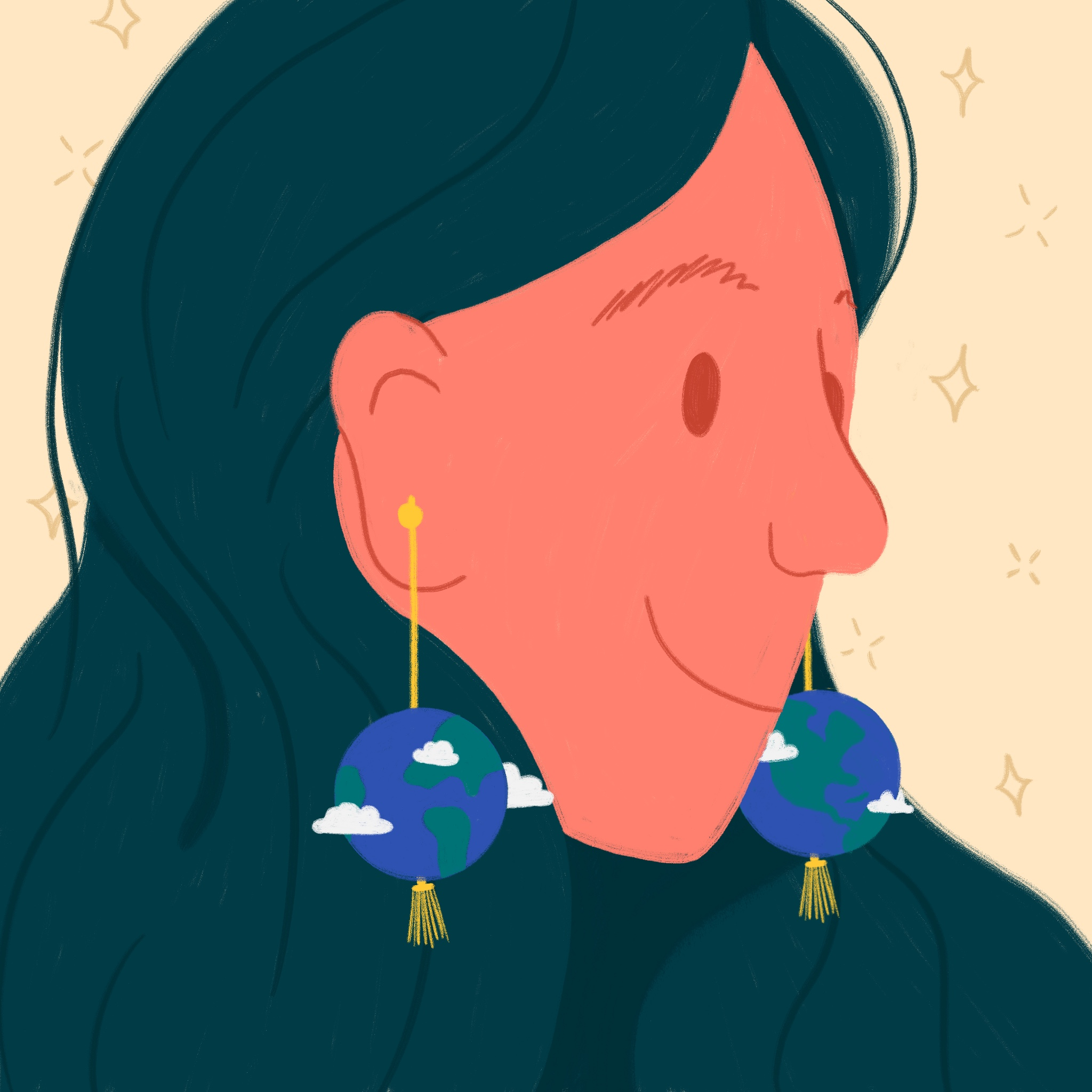 A close up illustration of a woman with earth-shaped earrings