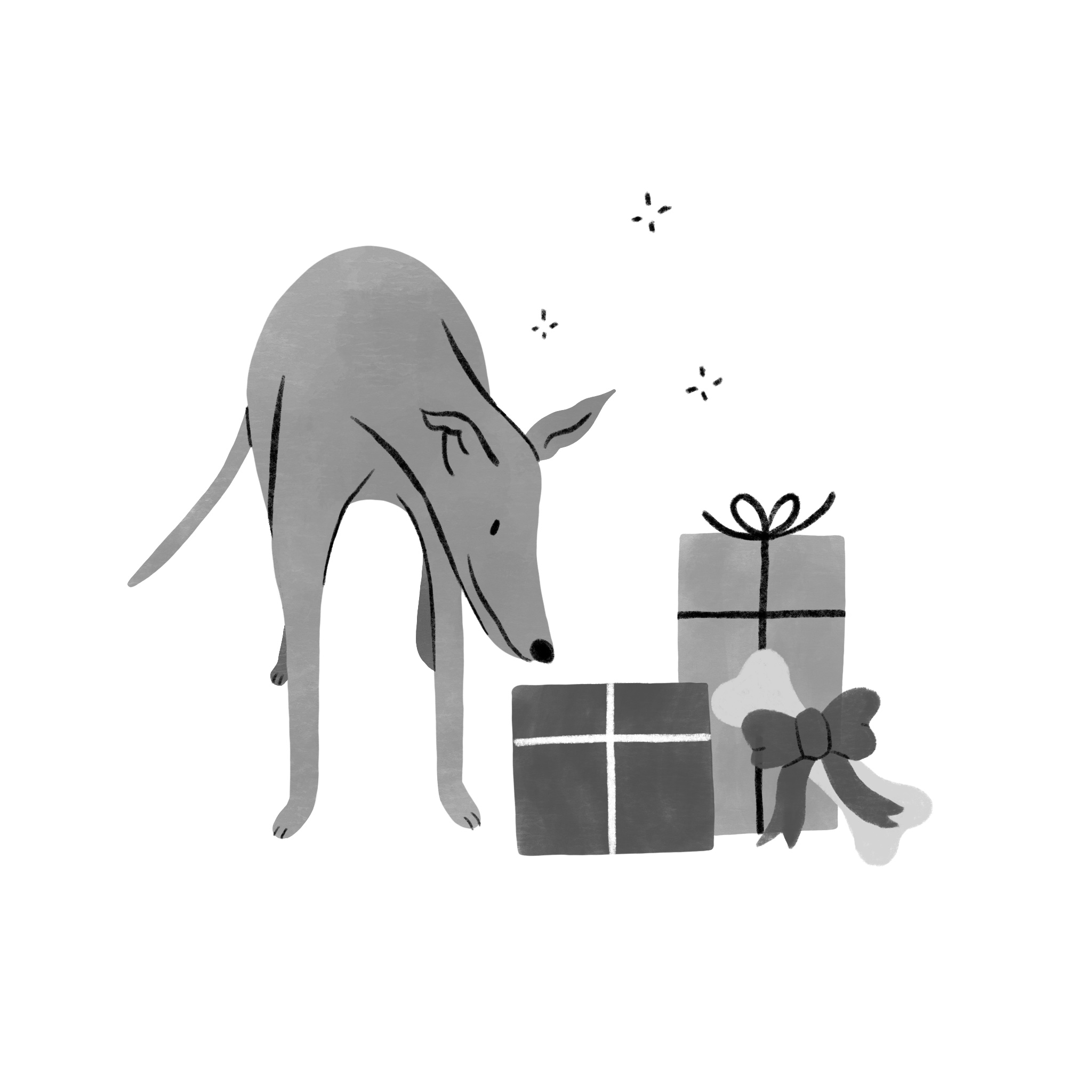 A dog bends down to look at a pile of gifts