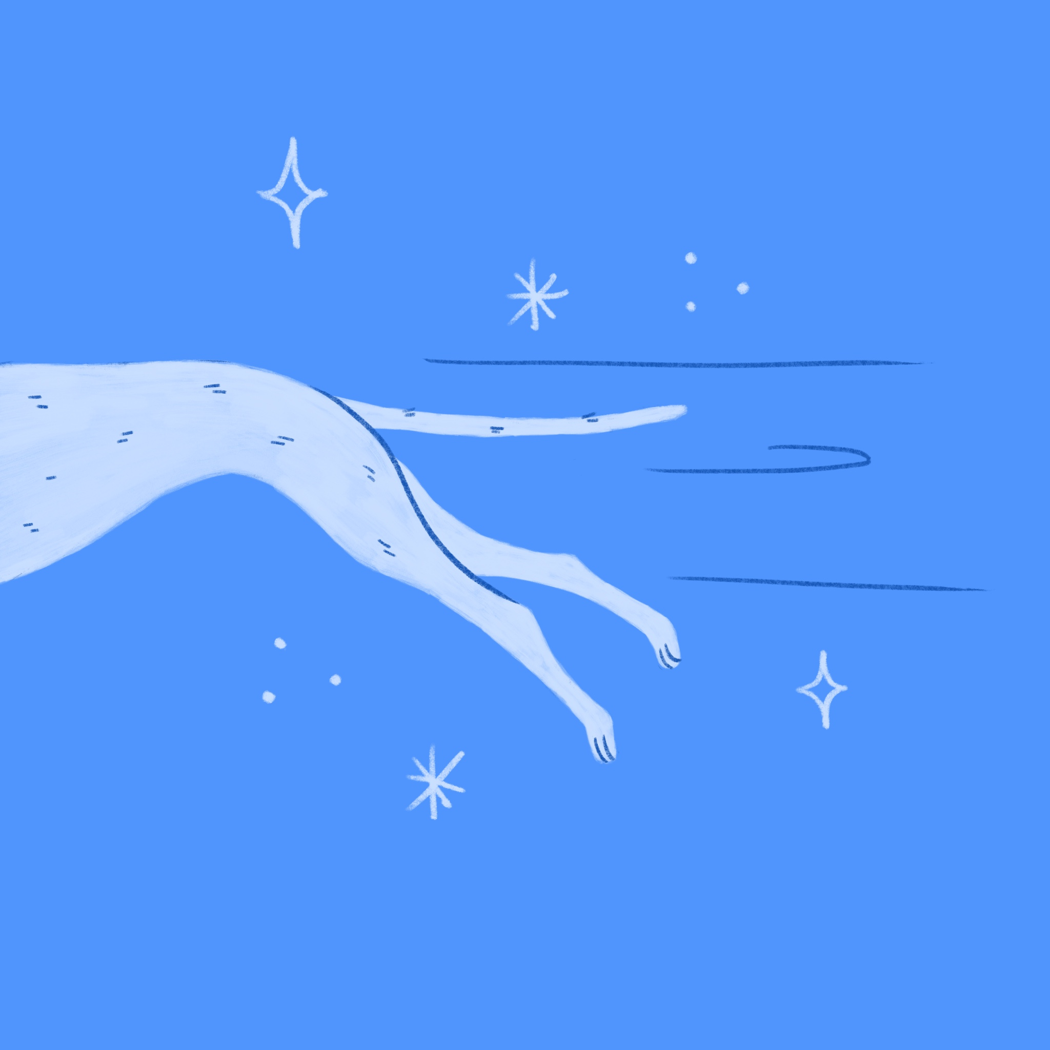 An illustration of a Greyhound dog