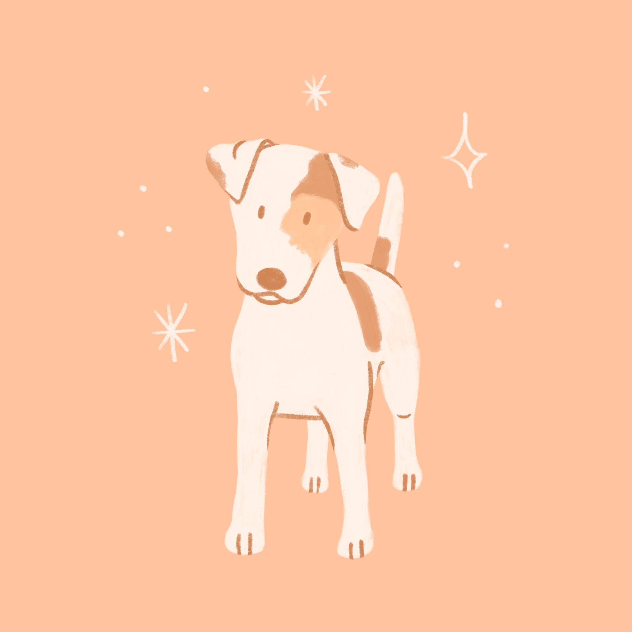 An illustration of a Jack Russell Terrier dog