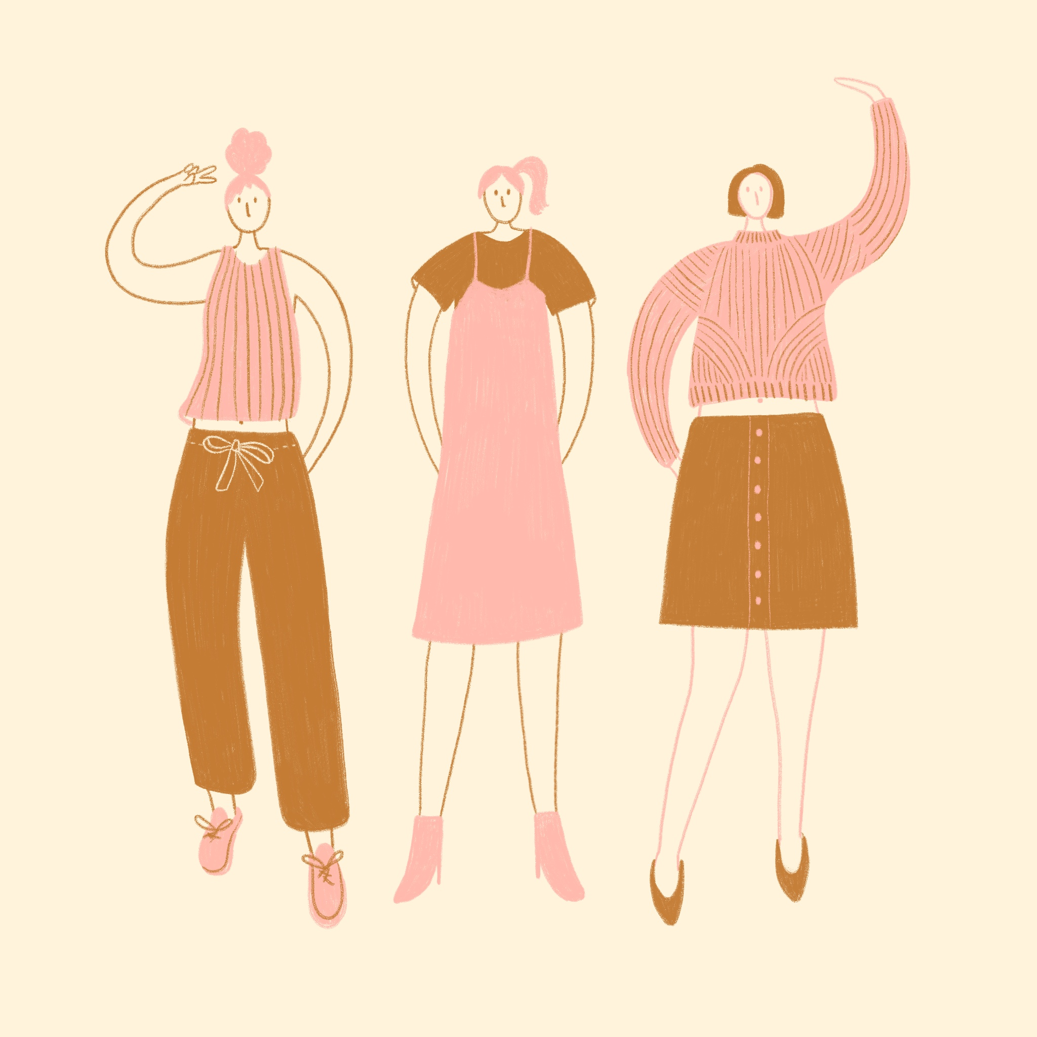 An illustration of three fashionable ladies