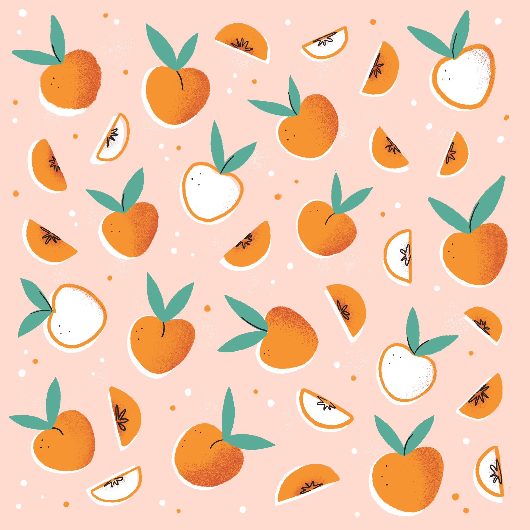 An illustrated pattern of peaches
