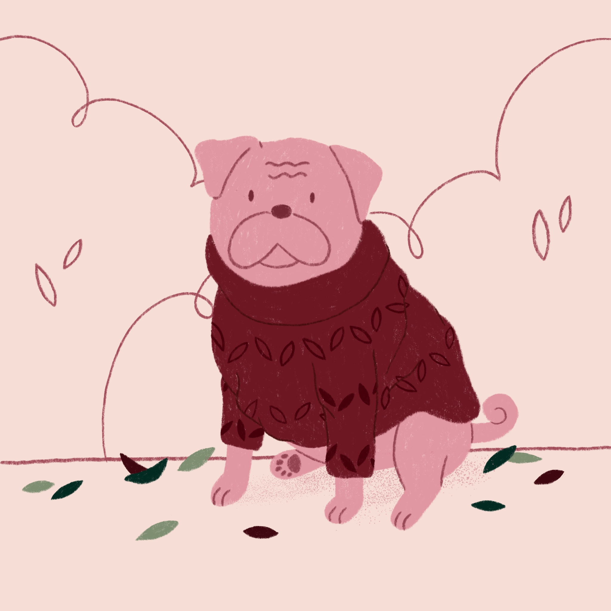 An illustration of a pug wearing a sweater