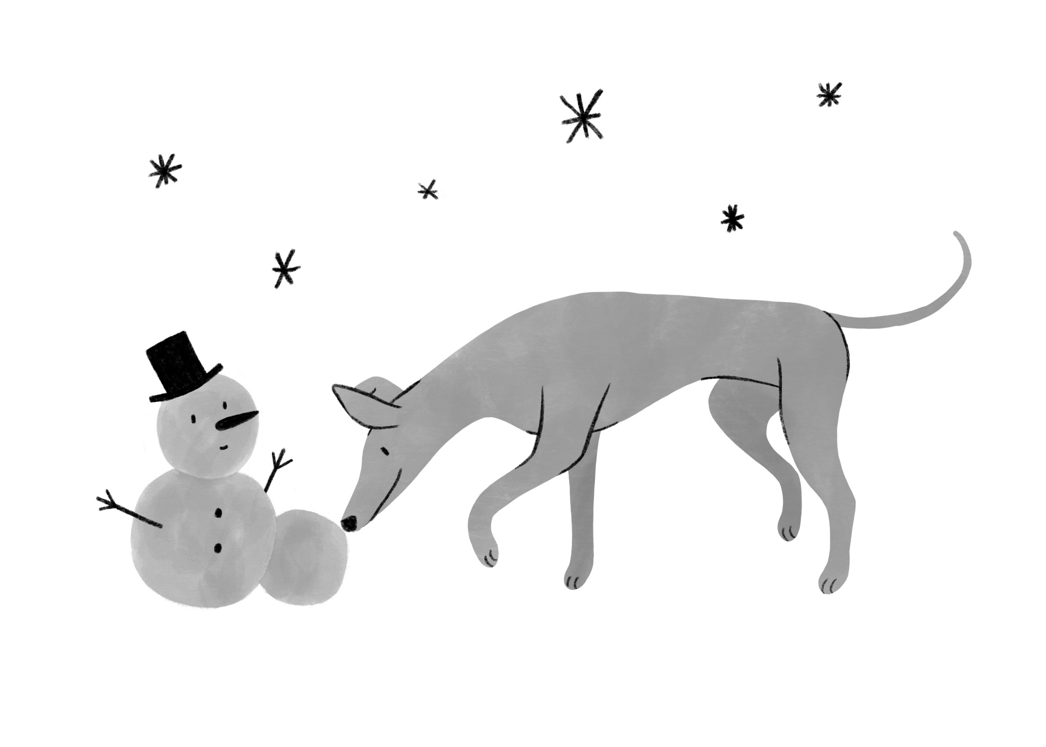 An illustrated greyhound rolls a snowball towards a little snowman