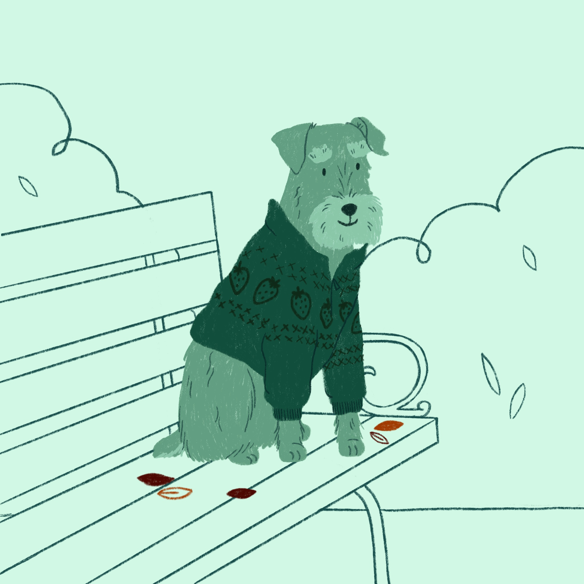 A schnauzer in a sweater sits on a park bench