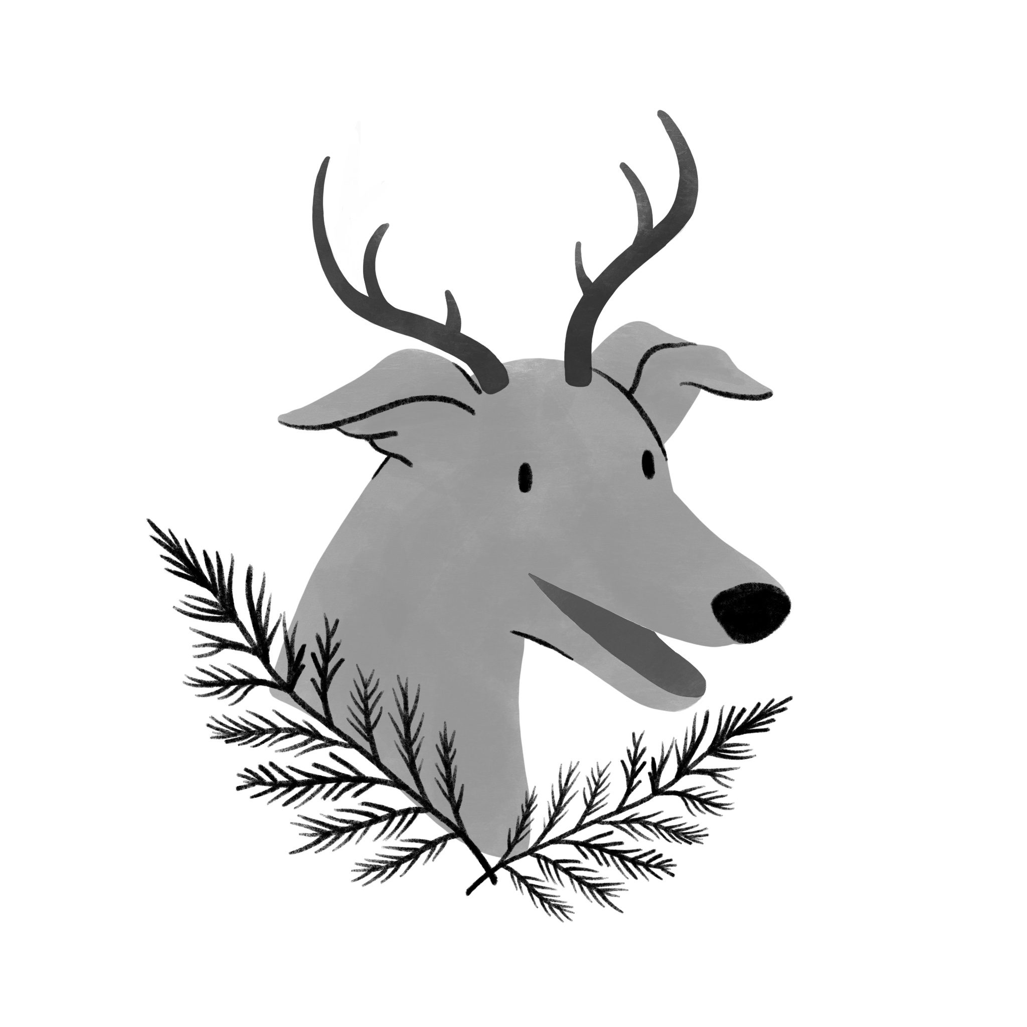 An illustration of a dog with antlers on, surrounded by pine boughs