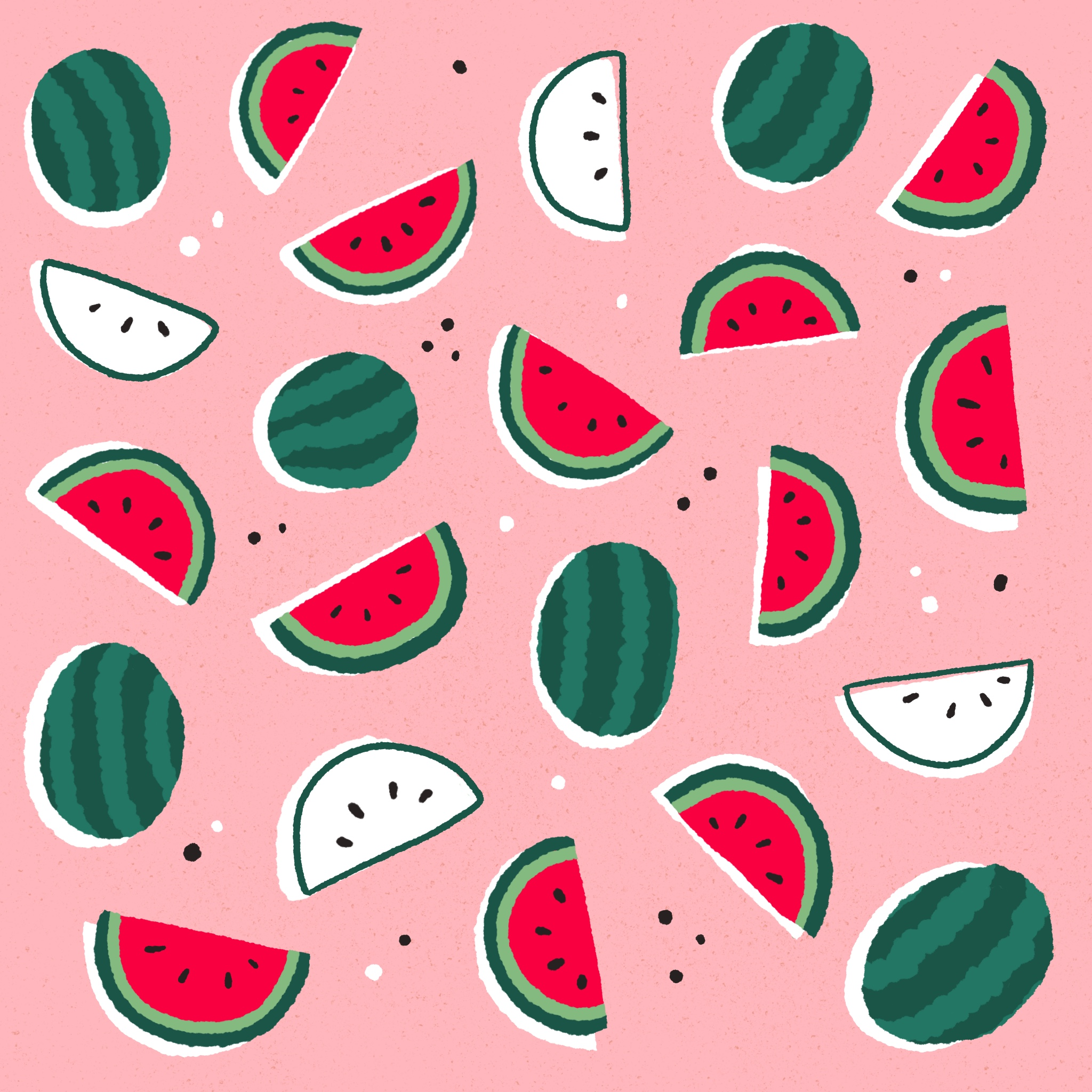An illustrated pattern of watermelon