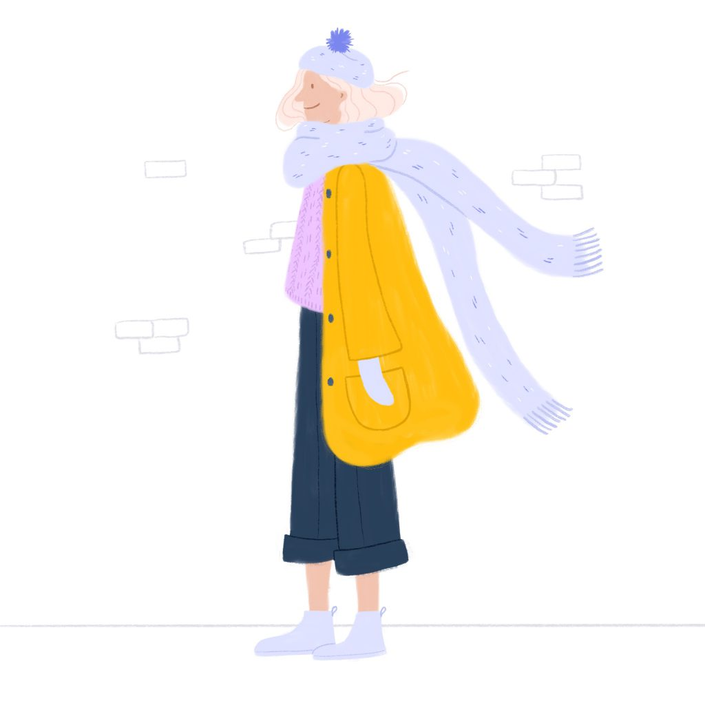 an illustration of a woman dressed for winter