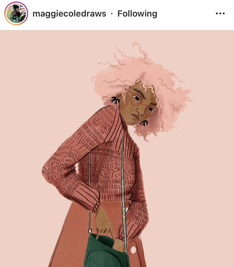 An illustration by Maggie Cole of a pink haired woman rummages in her purse