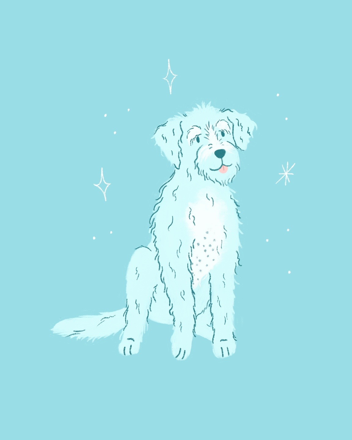 An illustration of a blue dog sitting