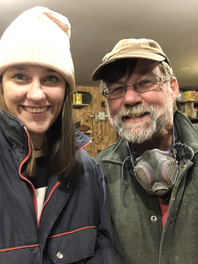 Kaila Elders and her father in his workshop