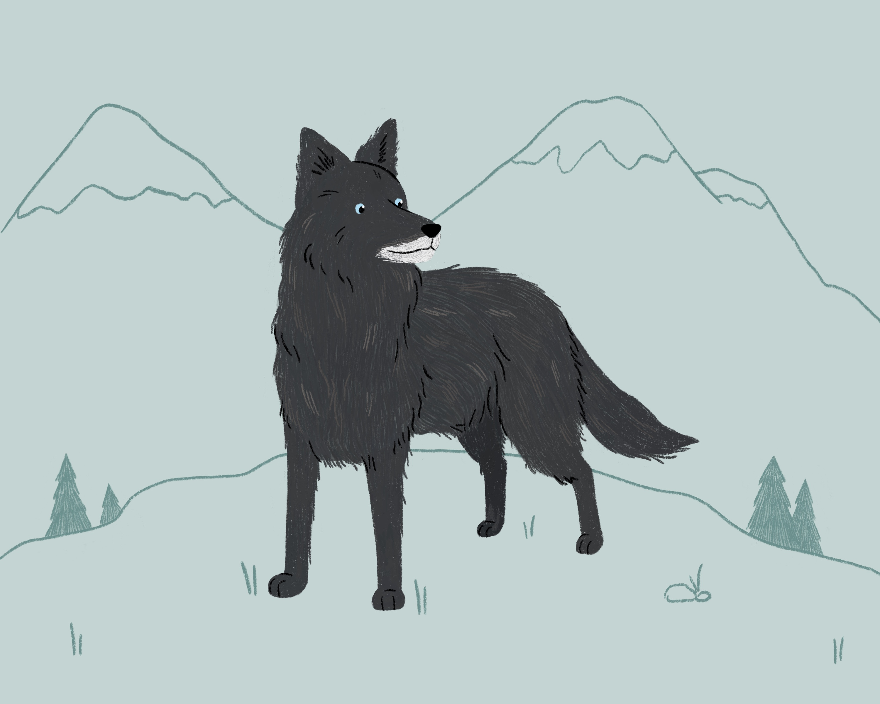 A black border collie surrounded by mountains