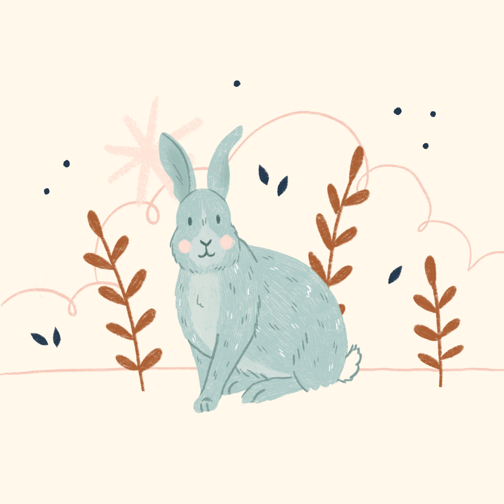 An illustration of a rabbit standing in front of some leaves and bushes