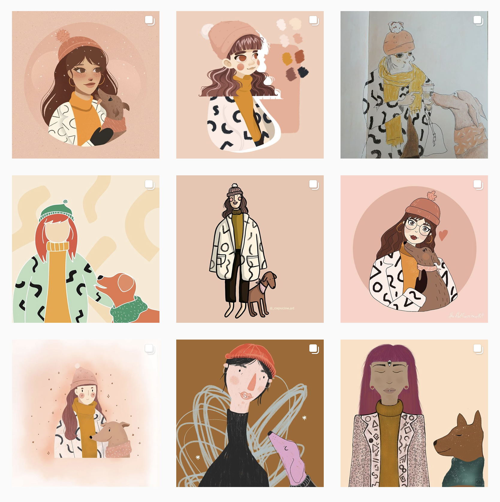 A grid of images, entries to Kaila Elders' Draw Thi In Your Style challenge