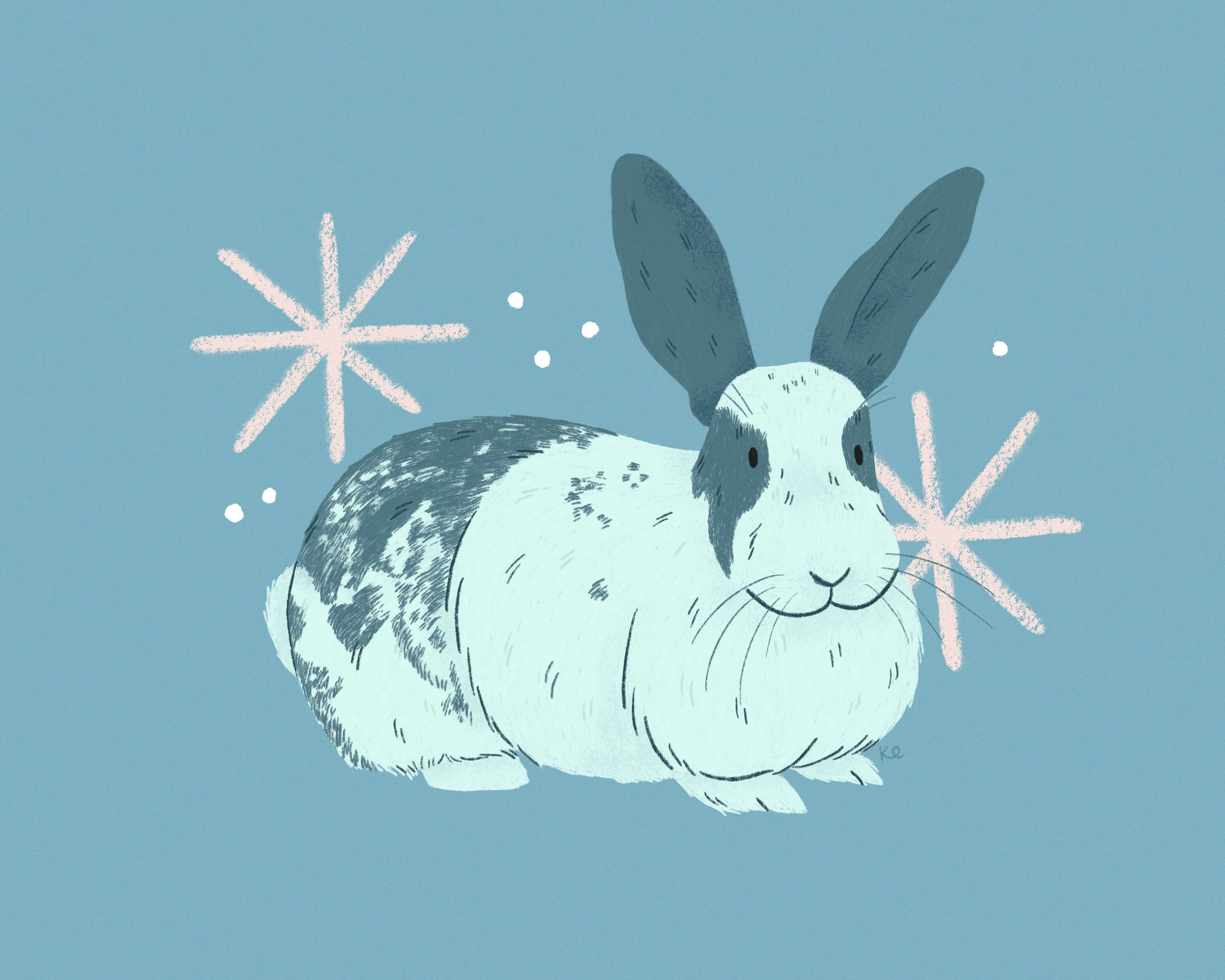An illustration of a blue bunny rabbit