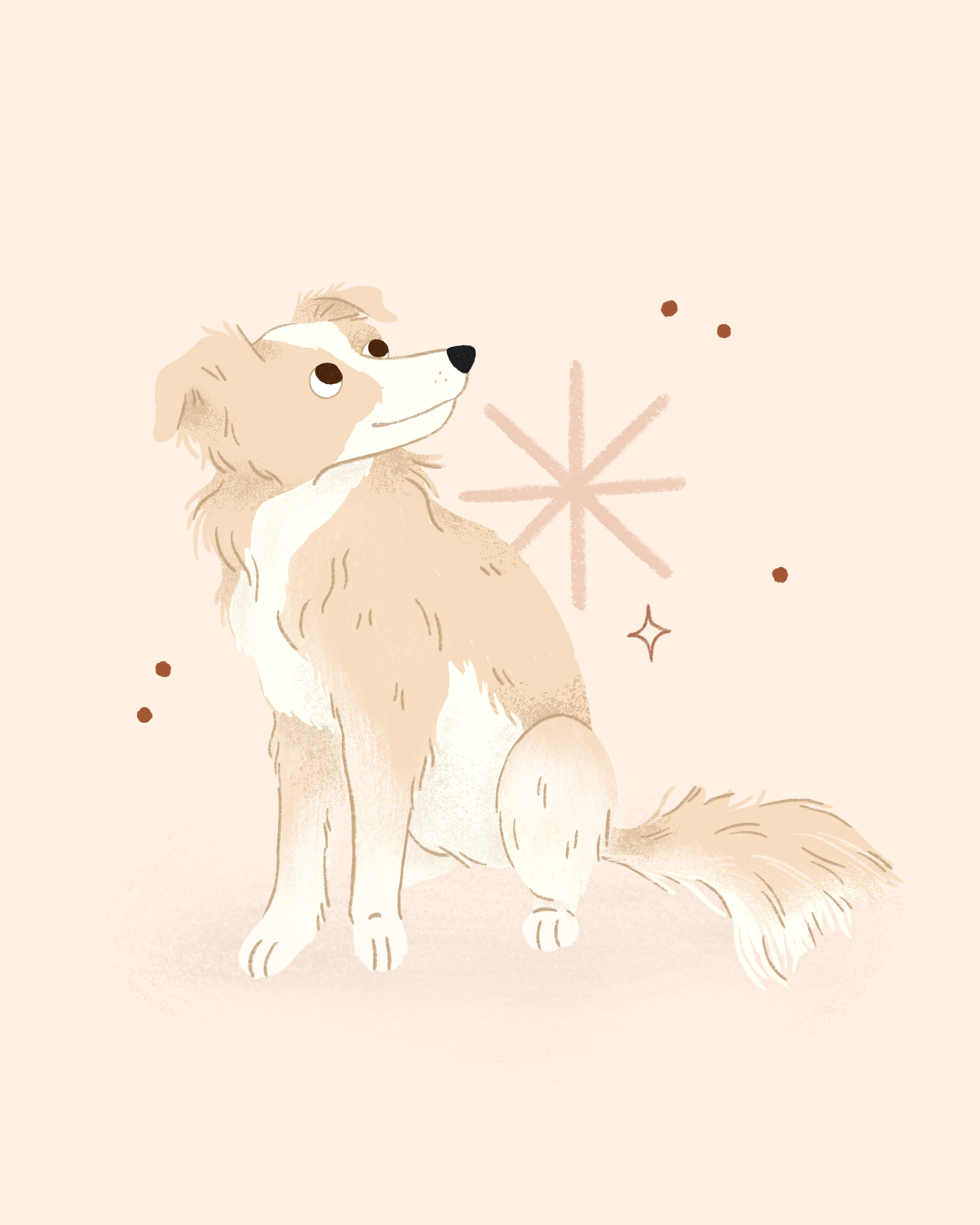An illustrated portrait of a small floofy white and tan dog